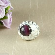 White Ceramic and Purple Catseye Stone Cocktail Statement Ring Size M - US 6