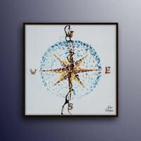 """Compass painting 35"""" Original oil painting on canvas, gift idea, for office"""