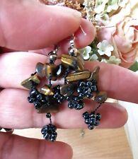 Tiger Eye Cluster Earrings, Black Beaded, Dangle Earrings, Gemstone, Brown Color
