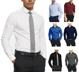 Mens Plain Modern Slim Fit Smart Shirts Long Sleeve Casual Formal Shirt RH09