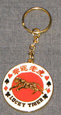 LUCKY TIGER KEYCHAIN - POKER CHIP THEME - RED AND GOLD - CARD COVER - METAL!
