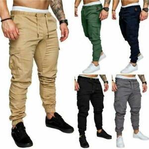 Mens Plain Casual Joggers Pants Sweatpants Cargo Combat Slim Fit Sports Trousers