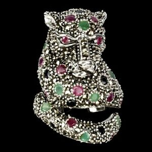 Unheated Round Emerald Marcasite Ruby Sapphire 925 Sterling Silver Tiger Ring 7