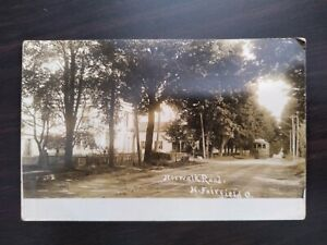 RPPC Photo Postcard main Norwalk road North Fairfield Ohio trolley car