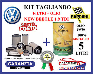 KIT TAGLIANDO 4 FILTRI VW NEW BEETLE 1.9 TDi + 5 LITRI OLIO BARDAHL 5W30