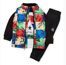 Asphalt Puffer Vest with Shirt and Joggers Pants 3 Pc Set
