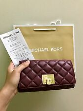NWT$198 MICHAEL KORS ASTRID QUILTED LARGE CARRYALL CLUTCH Leather WALLET Merlot