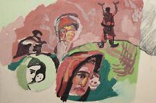 Vintage gouache painting expressionist portrait figures
