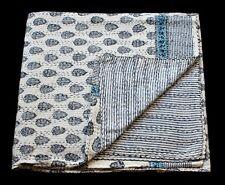 Indian Block Print Cotton Kantha Bedcover Batik Print Handmade Bedspread Blanket