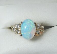 2.65ct Oval Cabochon Opal And White Sapphire 14k Yellow Gold Ring Sz 5.5