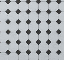 Dolls House Flooring Paper - Octagonal Tiles Marble Black