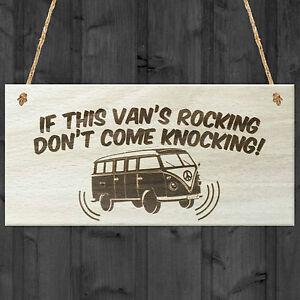 If Vans Rocking Dont Come Knocking Wooden Hanging Plaque VW Camper Van Sign Gift