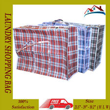 6 X NEW JUMBO LAUNDRY SHOPPING BAG REUSABLE STORAGE LUGGAGE SACK ZIP PVC BAGS