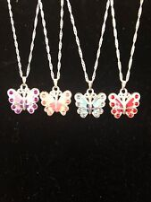 Childrens Butterfly Rhinestone Necklace 4 Colors