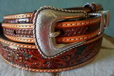 3D GENUINE LEATHER TOOLED REINER MENS WESTERN BELT RANGER 1 3/8 RODEO BELT SZ 40