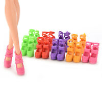 Randomly colors10 Pairs Assorted Colorful Doll Shoes Heels Sandals doll  SA