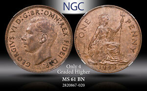 1949 Great Britain One Penny BU NGC MS61 BN Toned Coin In High Grade