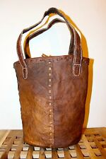 Recycled Handmade Raw Leather shoulder Bag Brown