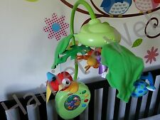 Vgc FISHER PRICE RAINFOREST Deluxe Baby COT MOBILE MELODIES - & REMOTE girl boy