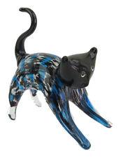 Glass Cat Stretching Figurine Approx 18cm High Black Blue
