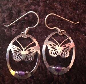 Women's Wild Bryde Rhodium Monarch Butterfly Amethyst Earrings