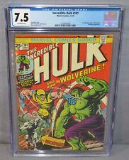 THE INCREDIBLE HULK #181 Wolverine 1st app. w/ MVS CGC 7.5 VF- Marvel 1974