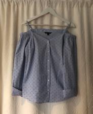 Banana Republic Woman's Light Blue Flower Print Strapless Shirt Size 6 US