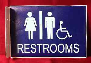 Restroom Sign Men Women Handicap 2D Projection Wall Mount Aluminum
