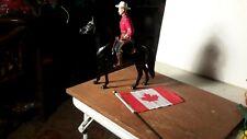 """Hartland """"Mountie"""" Figure on Black Horse w/Flag Western Figure Model"""