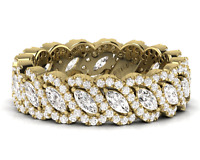 2ct Marquise & Round Brilliant Cut Diamond Eternity Ring,18k White & Yellow Gold