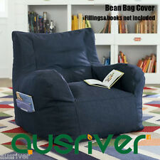 New Luxury Bean Bag Cover Armchair Beanbag Sofa/Chair Armrest Book Pocket