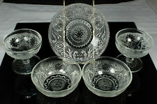 LOT of SANDWICH GLASS Dishes 5pcs Indiana/Hocking 2 SHERBETS UNDER PLATE 2 BOWLS