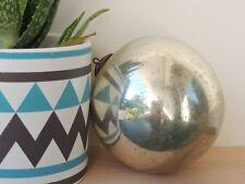Ancienne boule de Noel en verre églomisé mercurisé couleur Argent diam:13cm