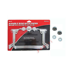 Handle Bar Pipes Die Cast Chrome Metal 3-D Motorcycle License Plate Frame & Cap