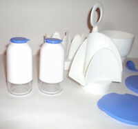 NEW Vtg Tupperware Open House Condiment Set Salt Pepper Bowl Napkin Holder Ladle