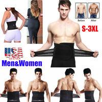 Men&Women Waist Trimmer Belt Sweat Wrap Tummy Weight Loss Fat Burner Slimming US