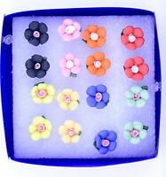 Super cute bundle. 8 pairs of mixed colour plum flower stud earrings