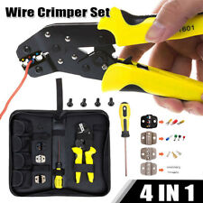 4in1 Professional Wire Crimper Plier Cable Ratcheting Crimping Terminal Tool Set