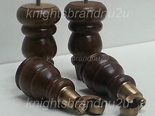 4x SOLID WOOD TURNED FURNITURE FEET FOR SOFA CHAIR STOOLS & BEDS WITH CASTORS M8