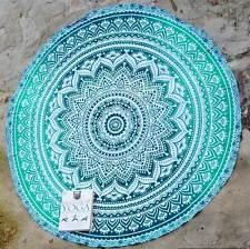 Indian Green Ombre Mandala Round Roundie Hippie Beach Throw Tapestry Yoga Mat 48