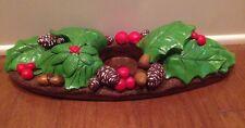 Vtg LARGE Christmas SIGNED FLORENTINE ART Chalkware CANDLE HOLDER Holly Pinecone