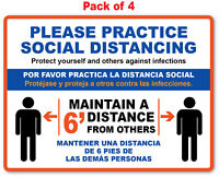 4 SOCIAL DISTANCING STICKER English / Spanish - Store Office Business Decal Sign