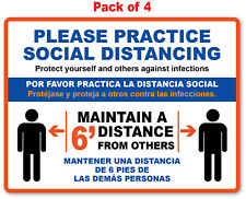 4 SOCIAL DISTANCING STICKER English / Spanish - Office Store Business Decal Sign