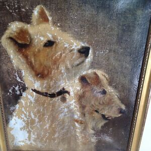 A Vintage Oil Painting on canvas of Two Terrier Dogs.