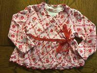 Baby Nay Girls Pink Floral Top Red Lace Trim Wrap Around Look Size 6 Months