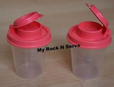 Tupperware  Set of Midget Salt and Pepper Shakers Clear/Guava  NEW