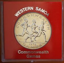 1978 Samoa Tala $1  KM# 30  Specimen BU Coin in Perspex Case Commonwealth Games
