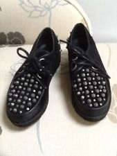 Bronx neri in pelle scamosciata Creepers Con Borchie UK3