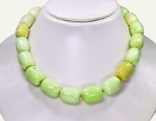 Gorgeous precious stone necklace in Lemon Chrysoprase in BARREL SHAPE