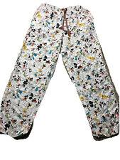Disney Parks Unisex Pajama Lounge Pants M Cartoon Mickey Mouse Print White EUC